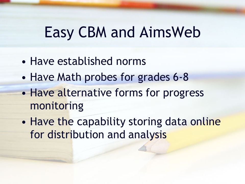 Easy CBM and AimsWeb Have established norms