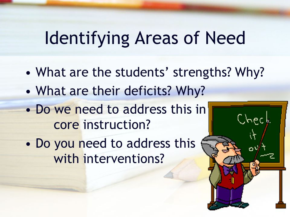 Identifying Areas of Need