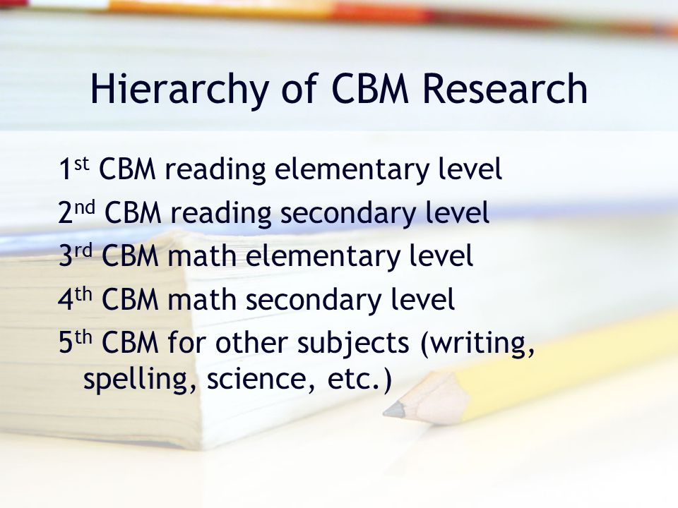 Hierarchy of CBM Research