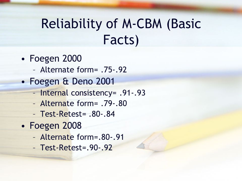 Reliability of M-CBM (Basic Facts)