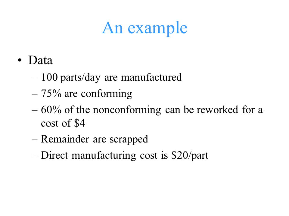 An example Data 100 parts/day are manufactured 75% are conforming