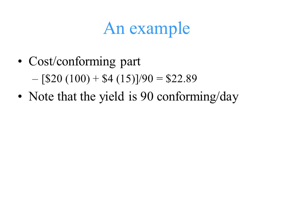 An example Cost/conforming part