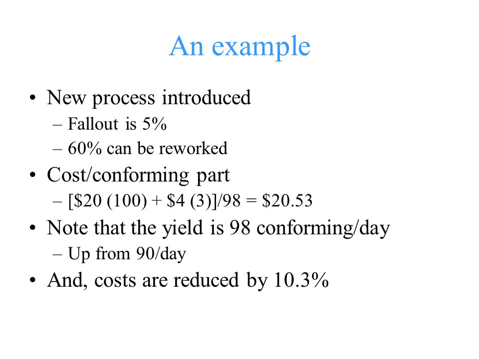 An example New process introduced Cost/conforming part