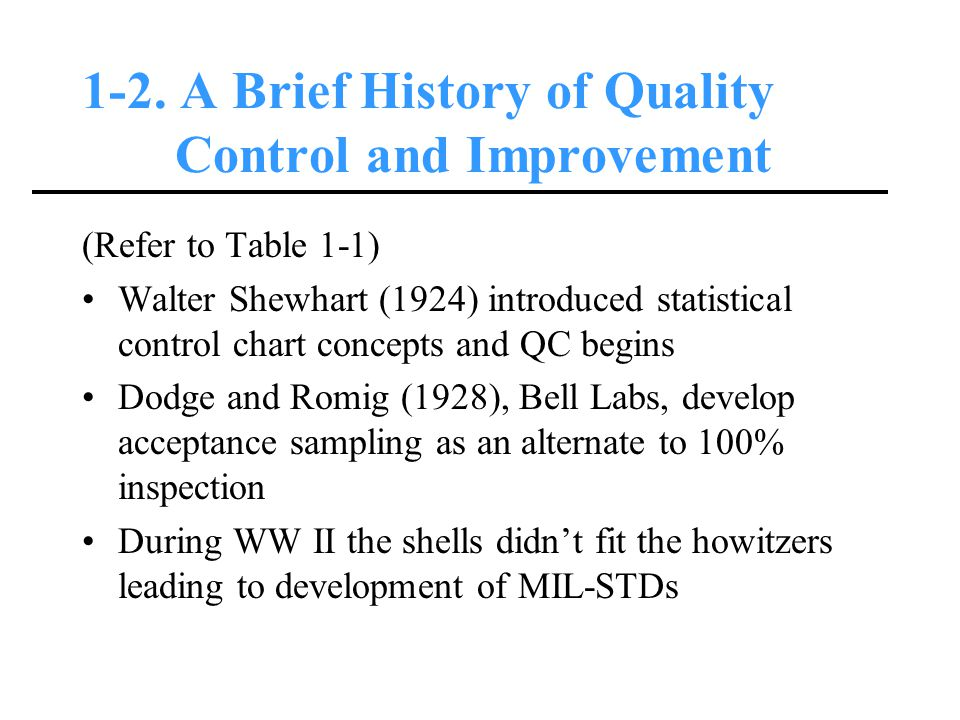 1-2. A Brief History of Quality Control and Improvement