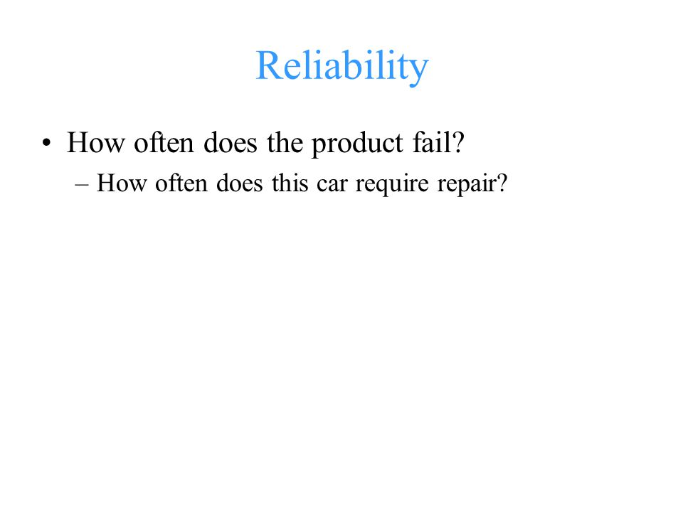 Reliability How often does the product fail