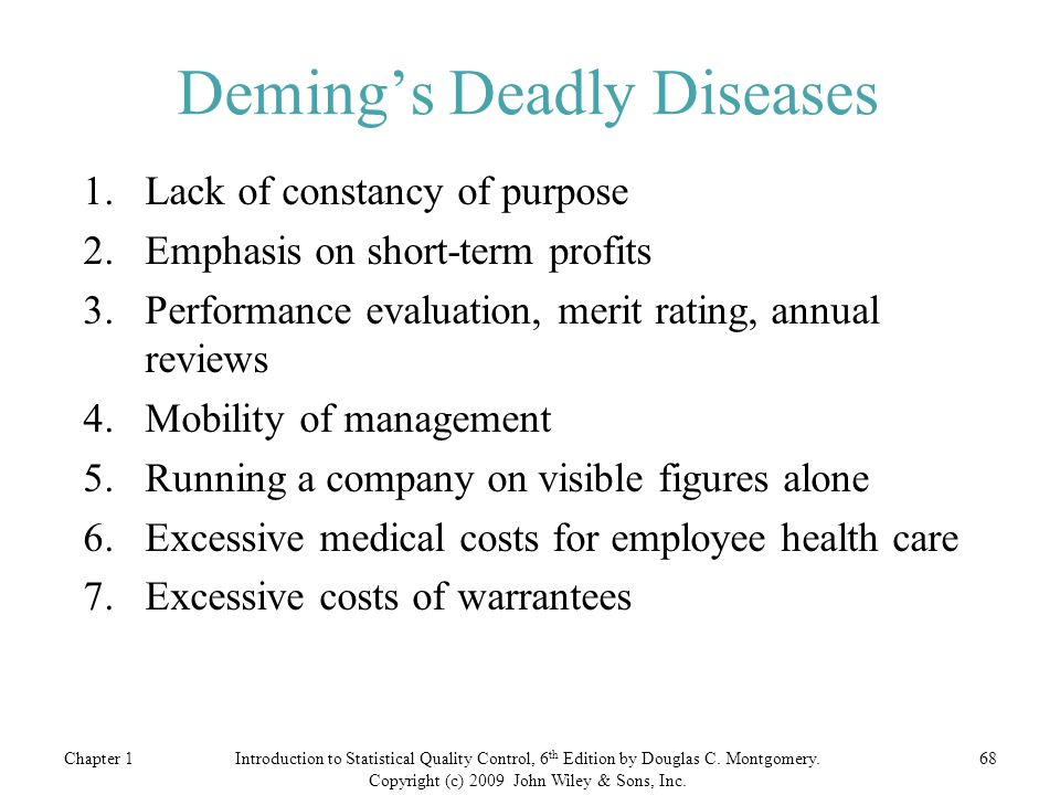 Deming's Deadly Diseases
