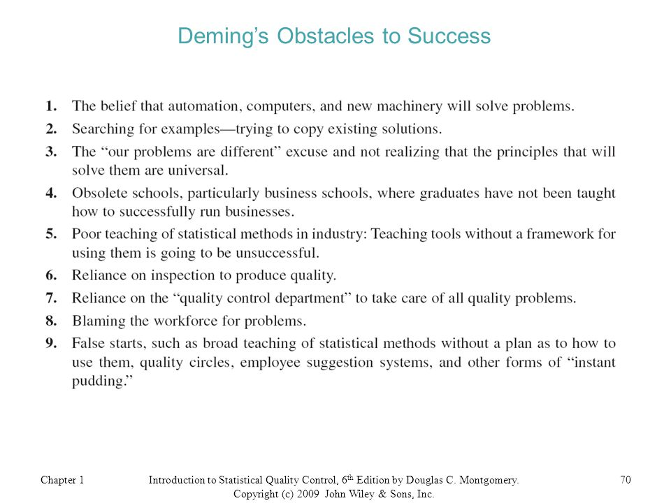 Deming's Obstacles to Success