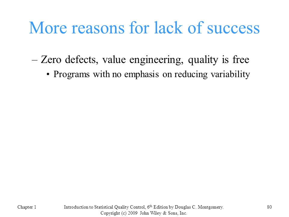 More reasons for lack of success