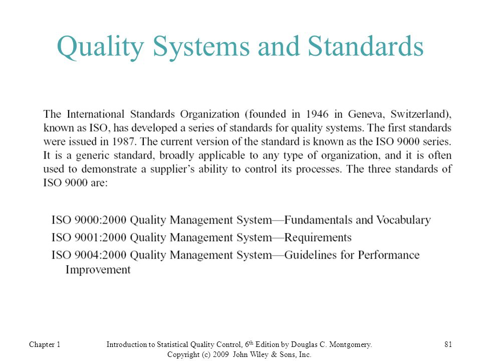 Quality Systems and Standards