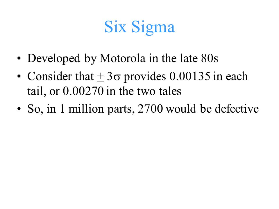Six Sigma Developed by Motorola in the late 80s