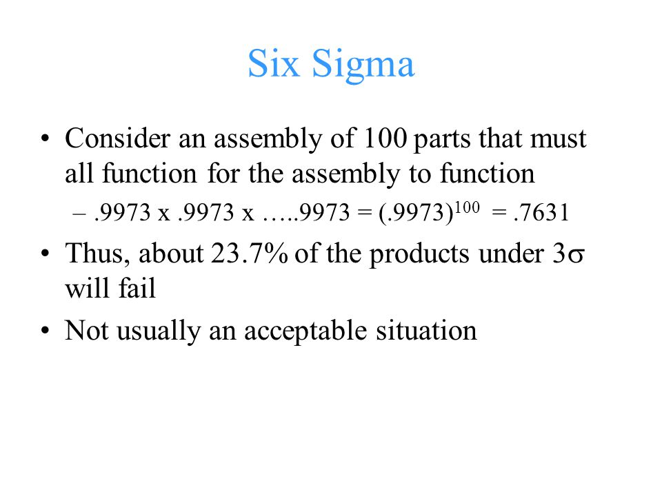 Six Sigma Consider an assembly of 100 parts that must all function for the assembly to function. .9973 x .9973 x …..9973 = (.9973)100 = .7631.