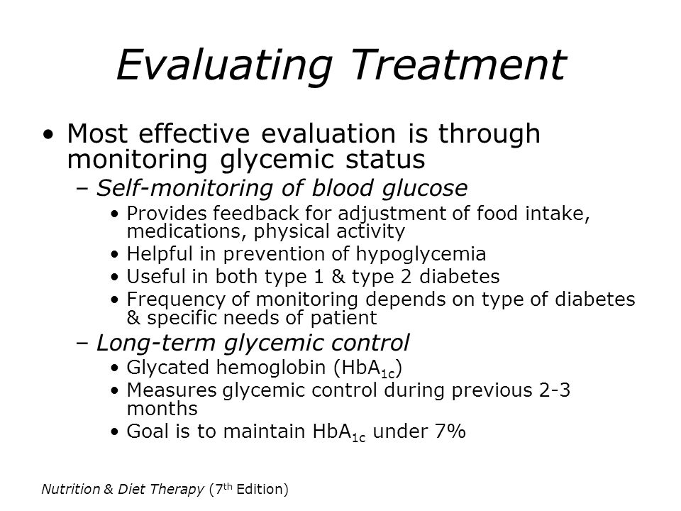 Evaluating Treatment Most effective evaluation is through monitoring glycemic status. Self-monitoring of blood glucose.