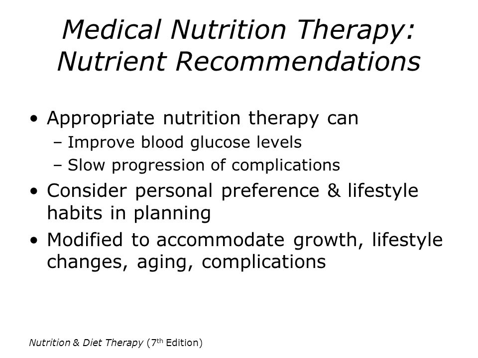 Medical Nutrition Therapy: Nutrient Recommendations