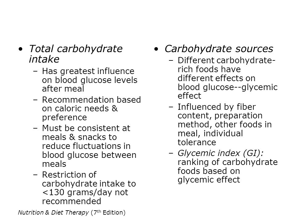 Total carbohydrate intake Carbohydrate sources