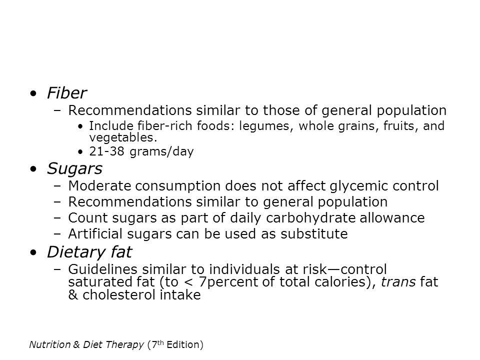 Fiber Sugars Dietary fat