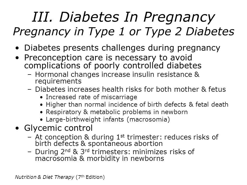 III. Diabetes In Pregnancy Pregnancy in Type 1 or Type 2 Diabetes