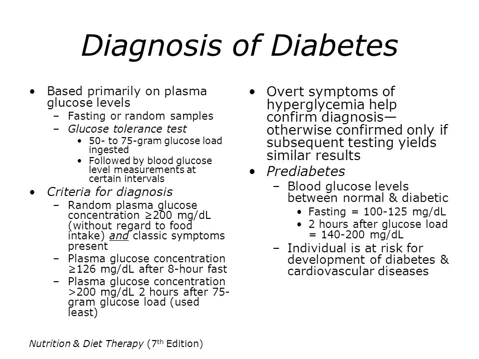 Diagnosis of Diabetes Based primarily on plasma glucose levels. Fasting or random samples. Glucose tolerance test.