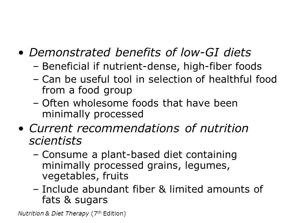 Demonstrated benefits of low-GI diets