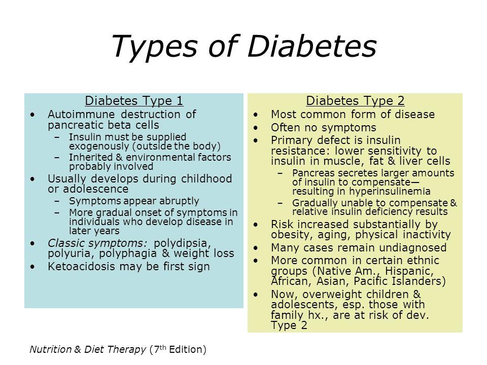 Types of Diabetes Diabetes Type 1 Diabetes Type 2