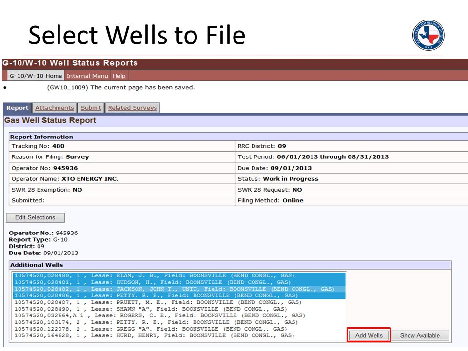 Select Wells to File