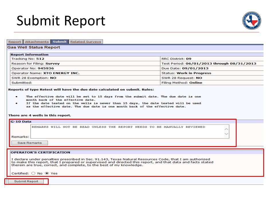 Submit Report
