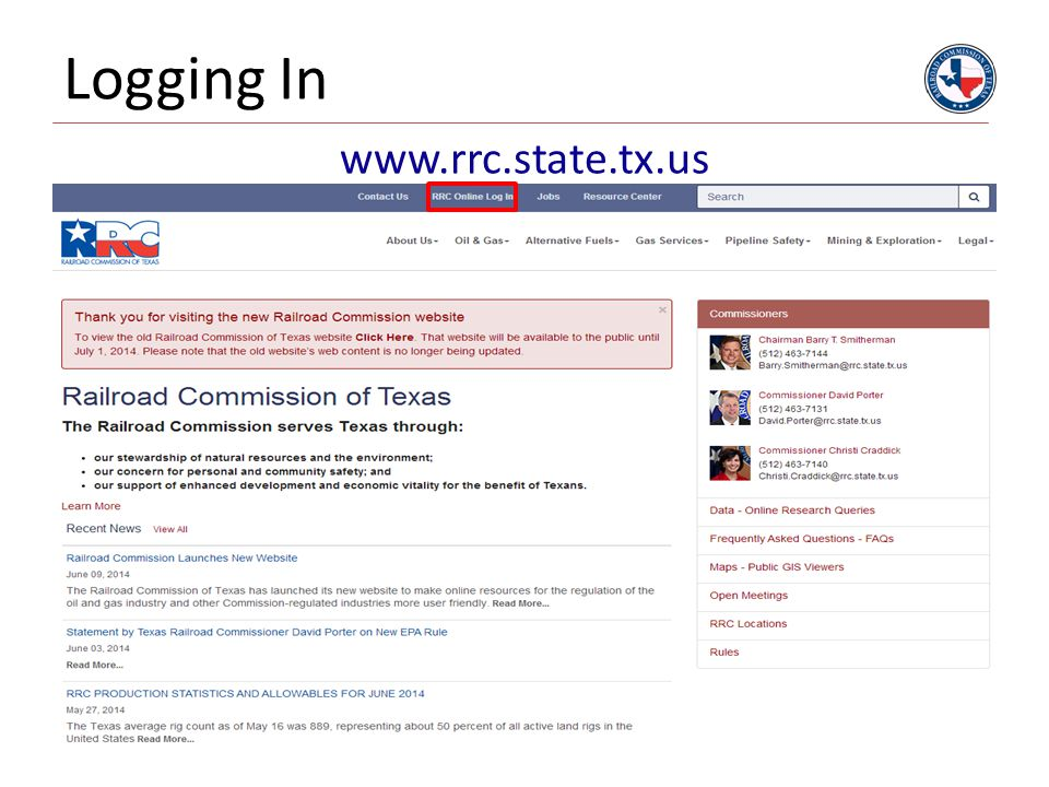 4/12/2017 Logging In www.rrc.state.tx.us