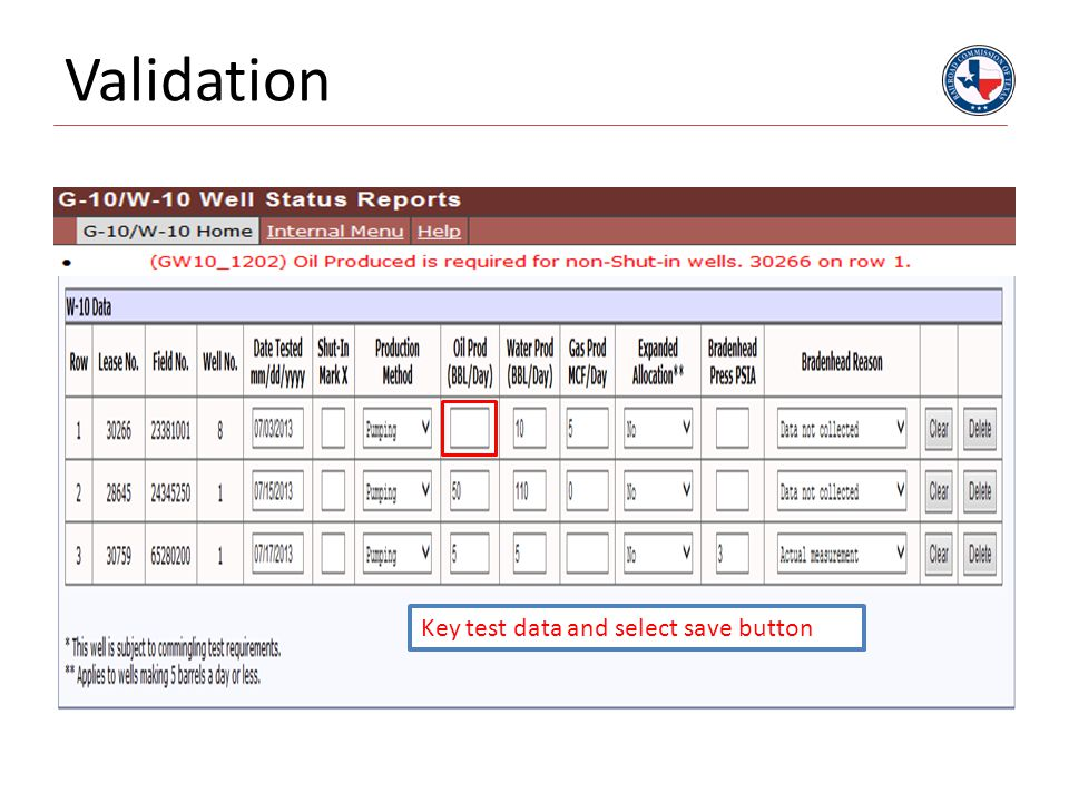 Validation Key test data and select save button