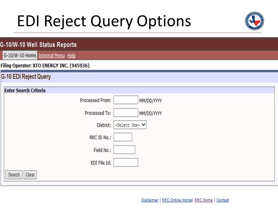 EDI Reject Query Options