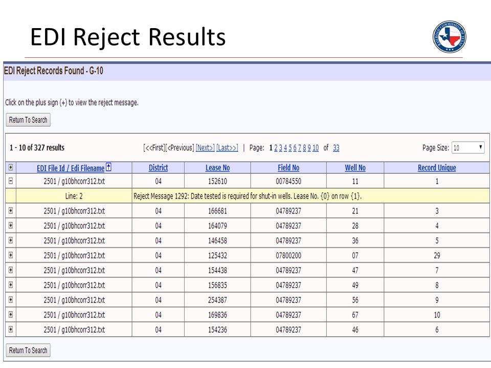 EDI Reject Results