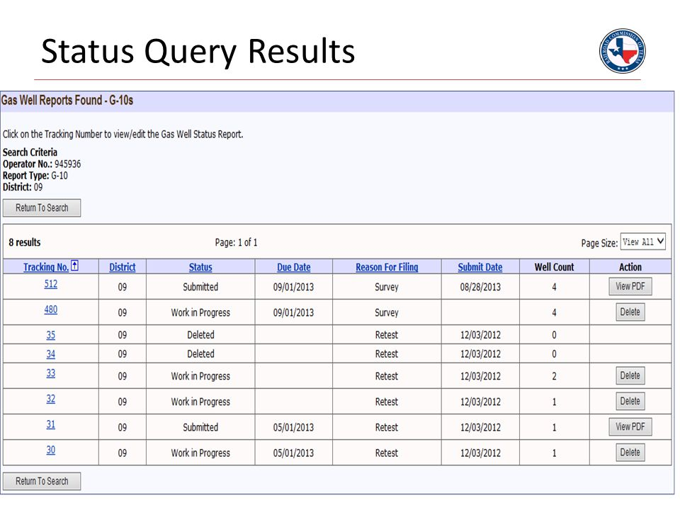 Status Query Results