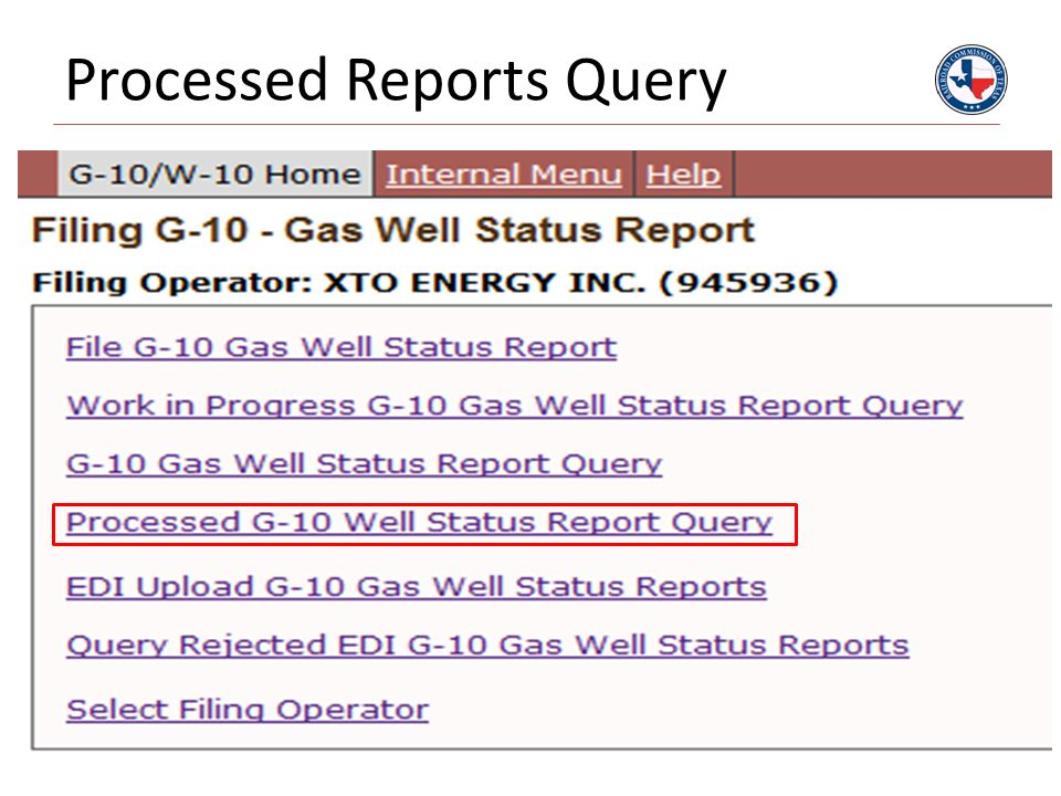 Processed Reports Query