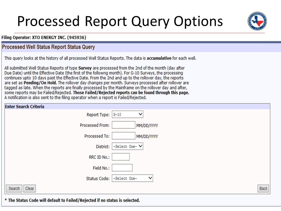 Processed Report Query Options
