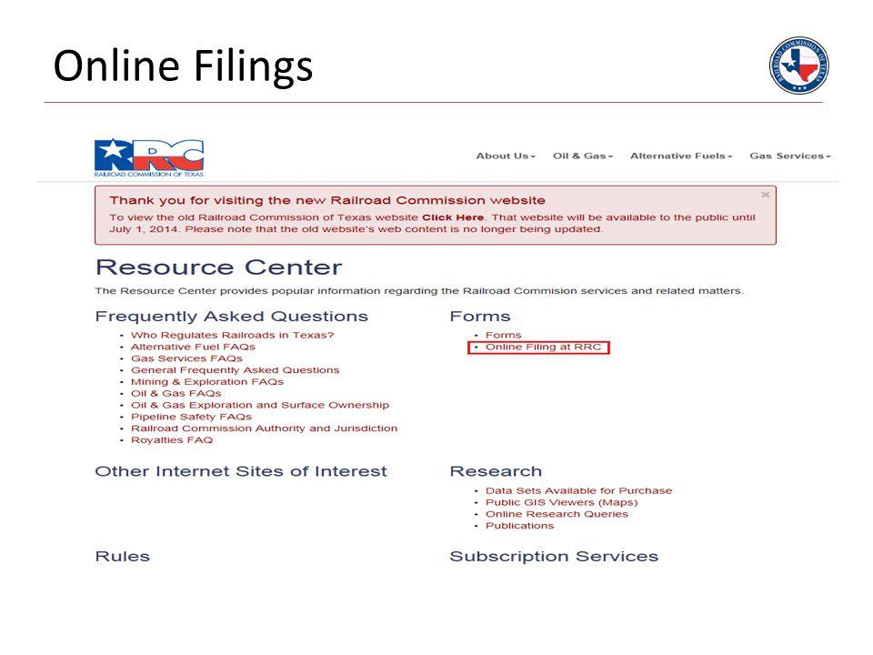 Online Filings