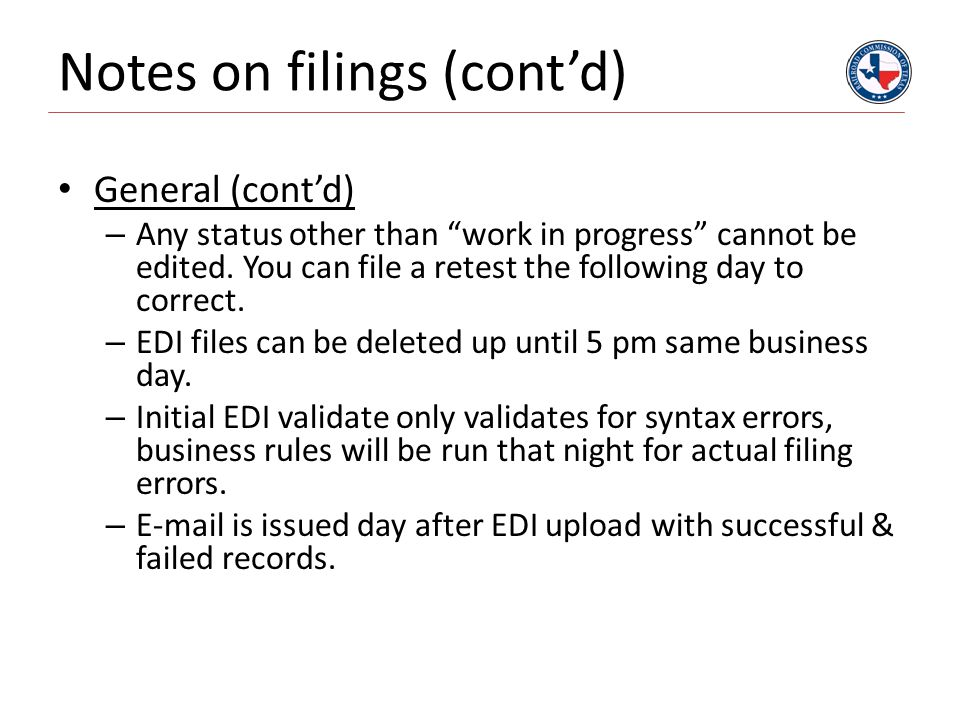 Notes on filings (cont'd)