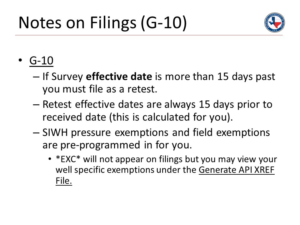 Notes on Filings (G-10) G-10