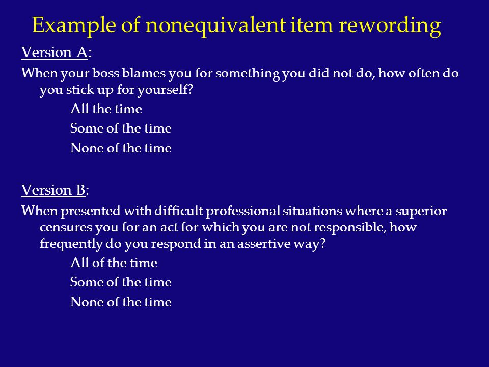 Example of nonequivalent item rewording