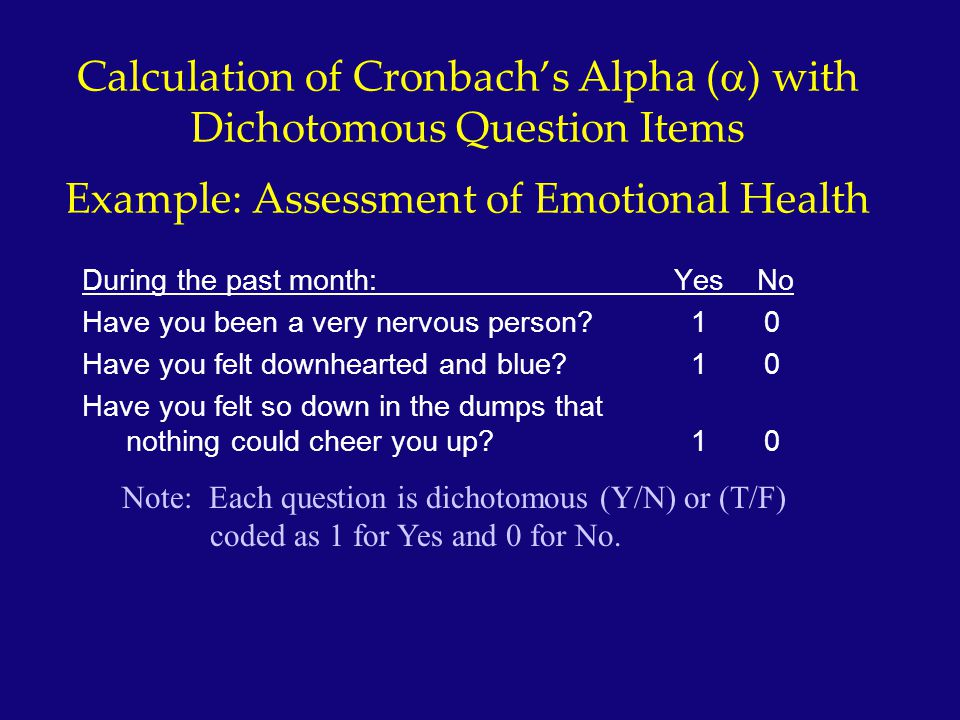 Calculation of Cronbach's Alpha (a) with Dichotomous Question Items Example: Assessment of Emotional Health