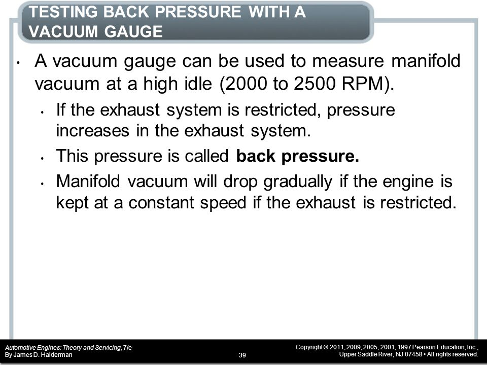TESTING BACK PRESSURE WITH A VACUUM GAUGE
