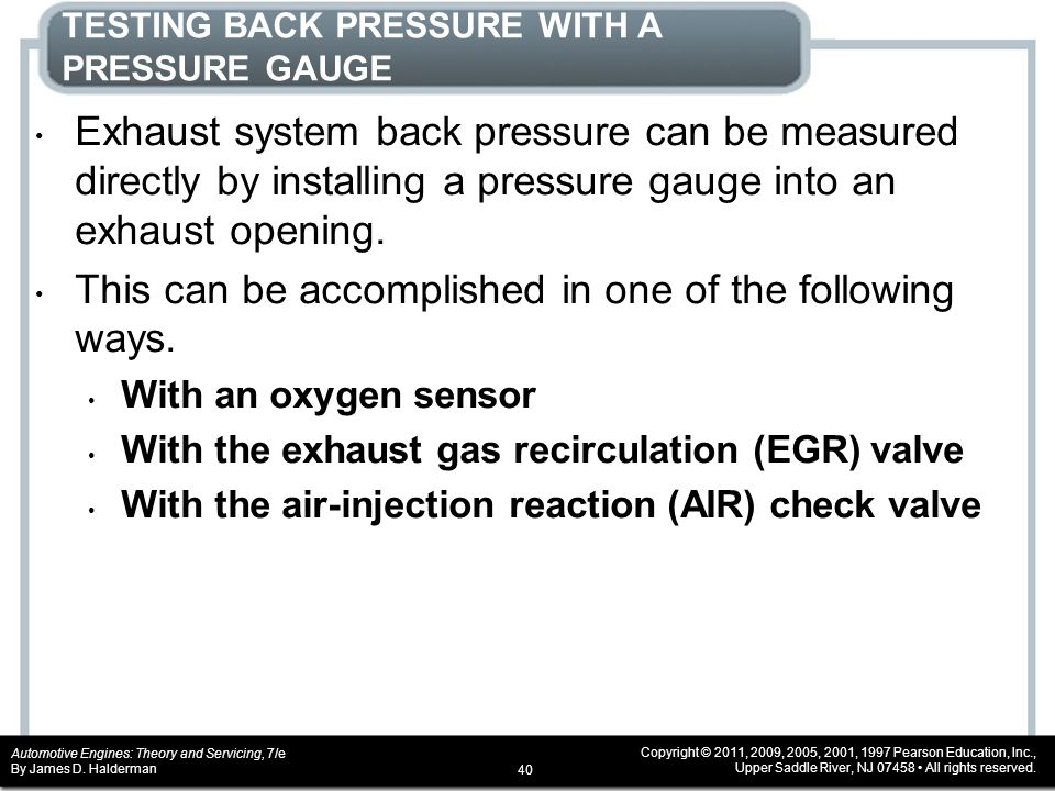 TESTING BACK PRESSURE WITH A PRESSURE GAUGE