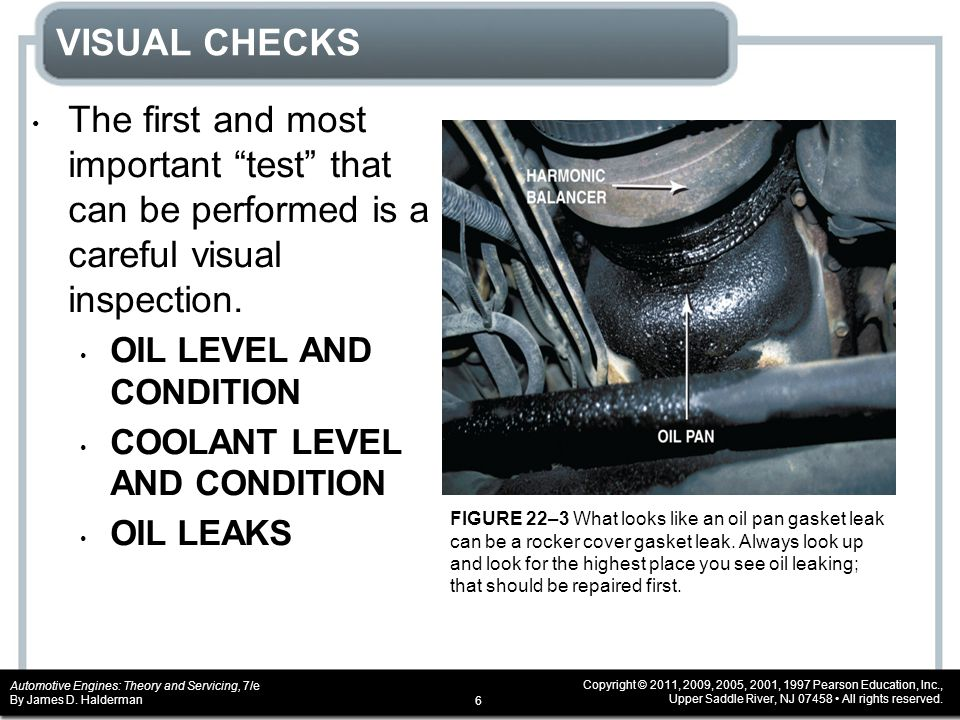 VISUAL CHECKS The first and most important test that can be performed is a careful visual inspection.