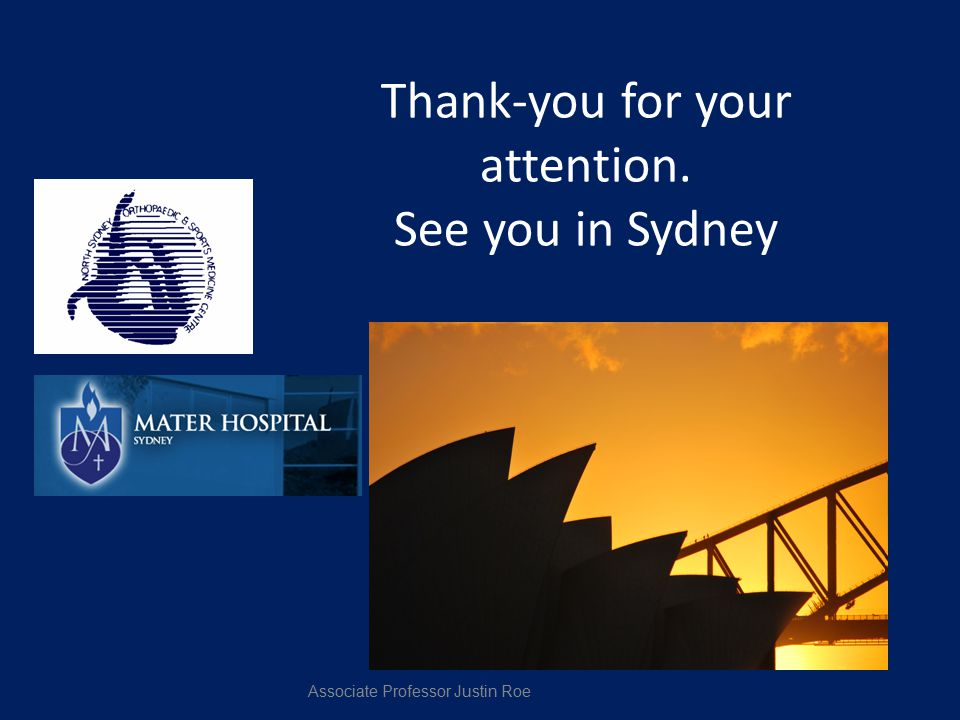 Thank-you for your attention. See you in Sydney
