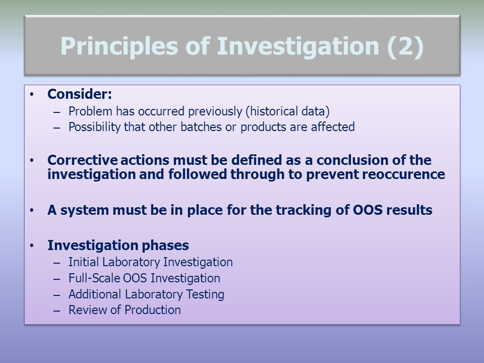 Principles of Investigation (2)
