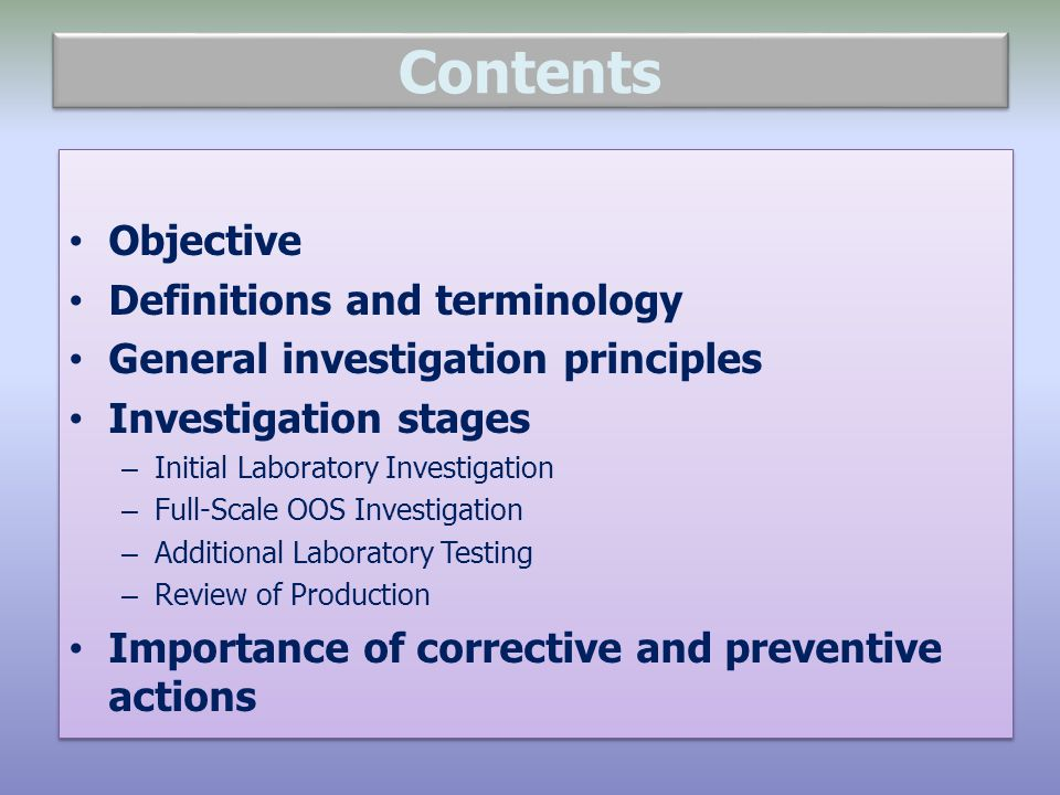 Contents Objective Definitions and terminology