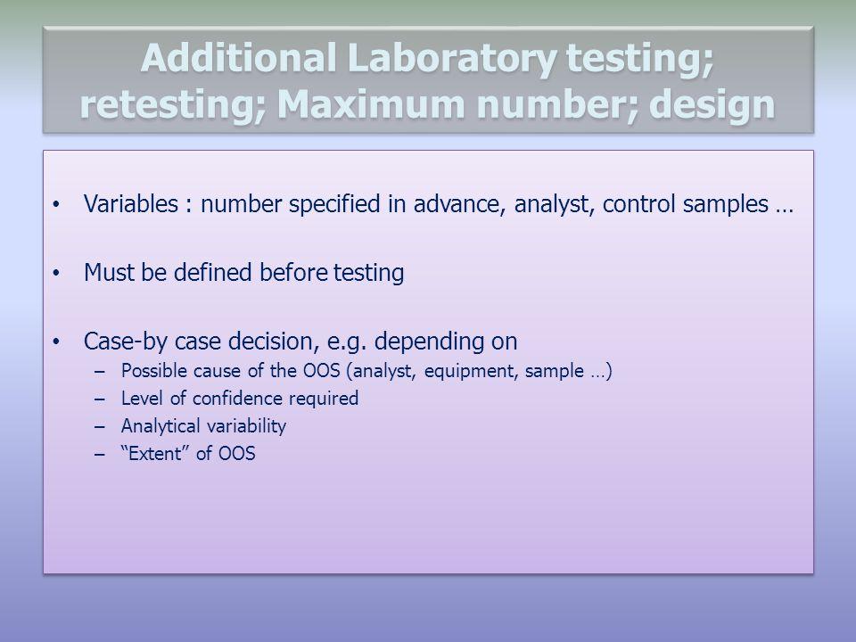 Additional Laboratory testing; retesting; Maximum number; design