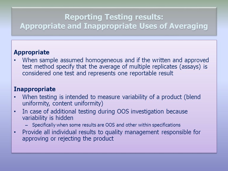 Reporting Testing results: Appropriate and Inappropriate Uses of Averaging