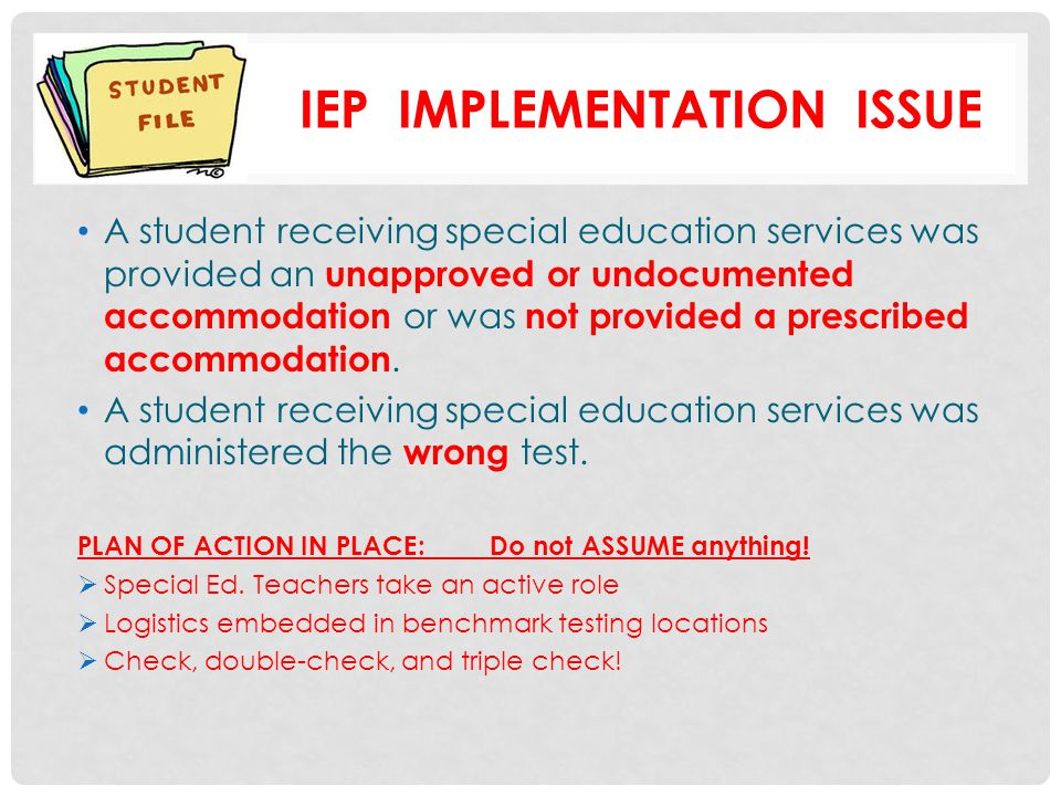Iep implementation issue