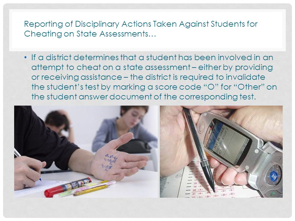 Reporting of Disciplinary Actions Taken Against Students for Cheating on State Assessments…