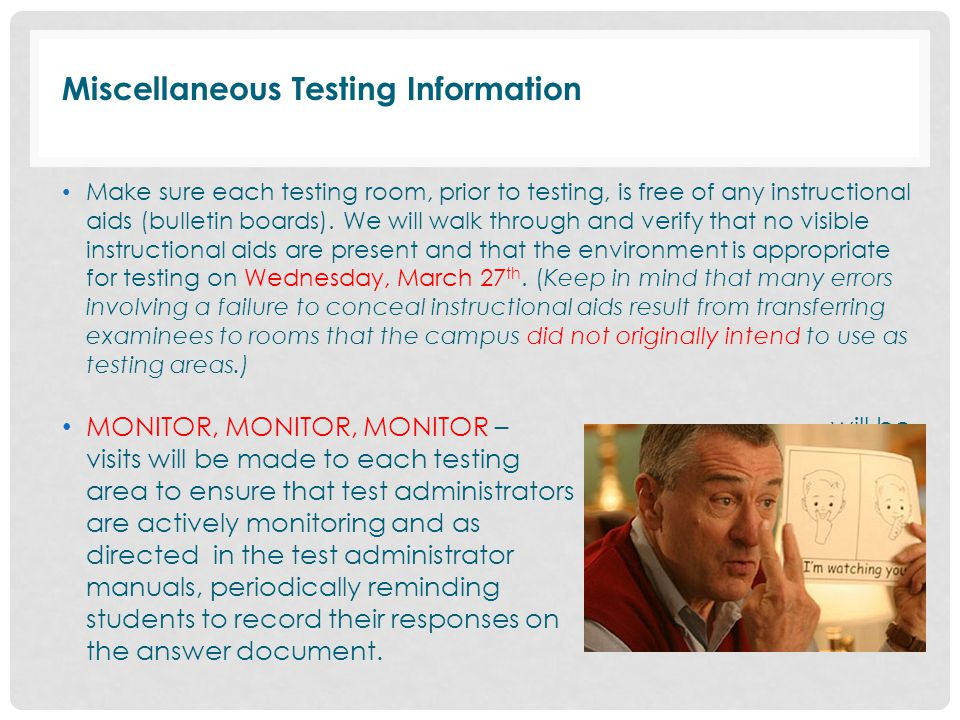 Miscellaneous Testing Information