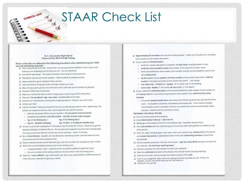 STAAR Check List