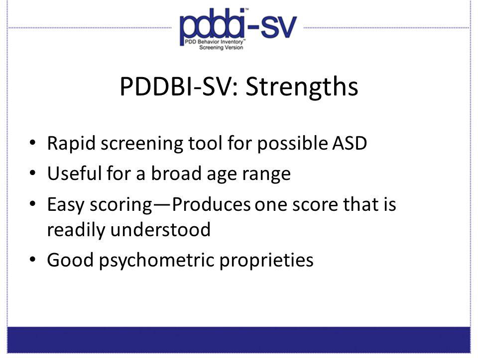 PDDBI-SV: Strengths Rapid screening tool for possible ASD
